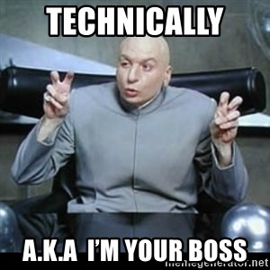 dr. evil quotation marks - Technically  A.K.A  I'm your boss
