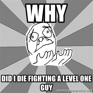 Whyyy??? - why did i die fighting a level one guy