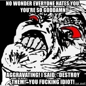"Omg Rage Face - No wonder everyone hates you. You're so goddamn Aggravating! I said, ""destroy them!"" You fucking idiot!"