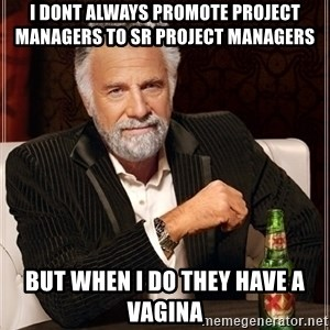Dos Equis Guy gives advice - i dont always promote project managers to Sr project managers but when i do they have a vagina