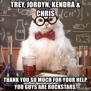 Chemistry Cat - Trey, Jordyn, Kendra & Chris Thank you so much for your help. You guys are rockstars.