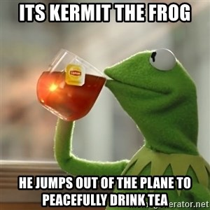 Kermit The Frog Drinking Tea - Its Kermit the frog He jumps out of the plane to peacefully drink tea