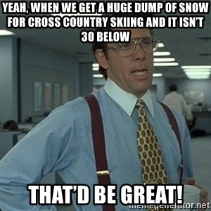 Yeah that'd be great... - Yeah, when we get a huge dump of snow for cross country skiing and it ISN't 30 below That'd be great!