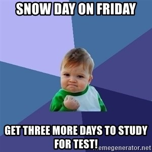 Success Kid - Snow day on Friday Get three more days to study for test!