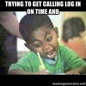 Black kid coloring - Trying to get calling log in on time and