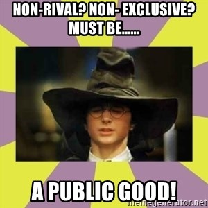 Harry Potter Sorting Hat - Non-rival? Non- exclusive?Must be...... A public good!