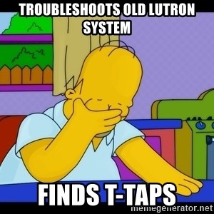 Homer Facepalm - Troubleshoots old Lutron system Finds t-taps