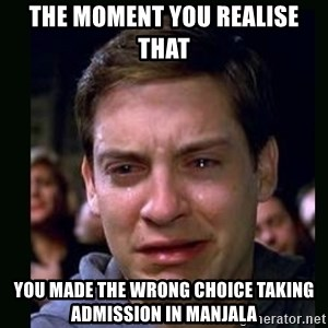 crying peter parker - The moment you realise that  you made the wrong choice taking admission in MANJALA