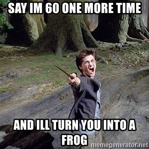 Pissed off Harry - Say im 60 one more time and ill turn you into a frog