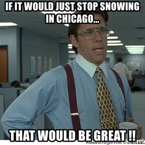 Yeah If You Could Just - If it would just stop snowing in Chicago... THAT WOULD BE GREAT !!