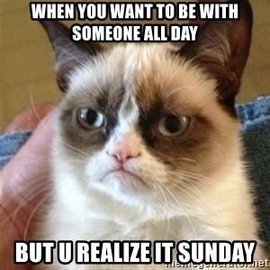 Grumpy Cat  - When you want to be with someone all day But u realize it sunday