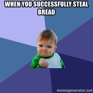 Success Kid - when you successfully steal bread