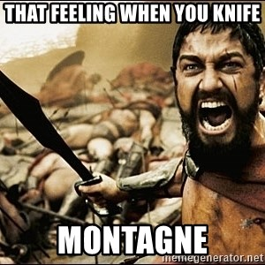 This Is Sparta Meme - that feeling when you knife montagne