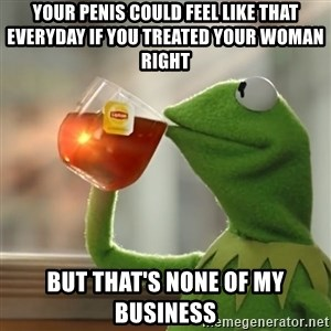 Kermit The Frog Drinking Tea - Your penis could feel like that everyday if you treated your woman right But that's none of my business