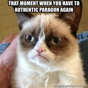 Grumpy Cat  - That moment when you have to authentic Paragon again
