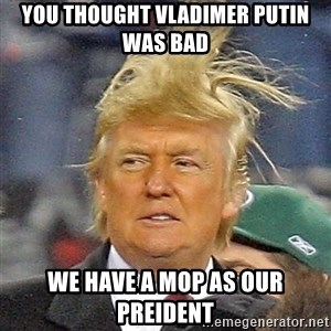 Donald Trump wild hair - you thought vladimer putin was bad we have a mop as our preident