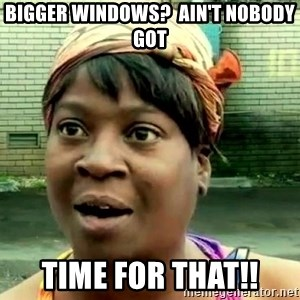 oh lord jesus it's a fire! - bigger windows?  ain't nobody got time for that!!