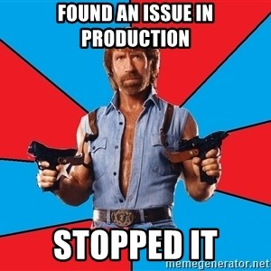 Chuck Norris  - Found an issue in production STOPPED IT