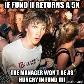 Sudden Realization Ralph - If Fund II returns a 5x the manager won't be as hungry in Fund III!