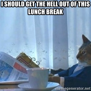 Sophisticated Cat - I SHOULD GET THE HELL OUT OF THIS LUNCH BREAK