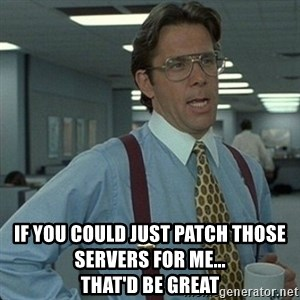 Yeah that'd be great... - if you could just patch those servers for me...                          that'd be great