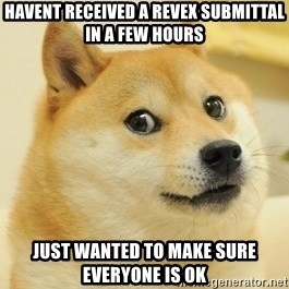 Dogeeeee - Havent received a Revex submittal in a few hours Just wanted to make sure everyone is ok