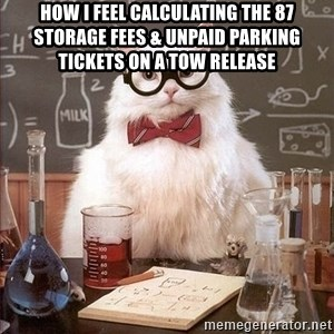 Chemistry Cat - how i feel calculating the 87 storage fees & unpaid parking tickets on a tow release
