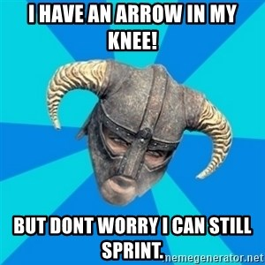 skyrim stan - I have an arrow in my knee! But dont worry i can still sprint.