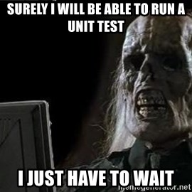 OP will surely deliver skeleton - Surely I will be able to run a unit test I just have to wait