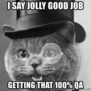 Monocle Cat - i say jolly good job getting that 100% QA