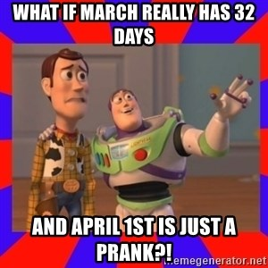 Everywhere - What if March really has 32 days And April 1st is just a prank?!