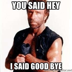 Chuck Norris  - you said hey i said good bye