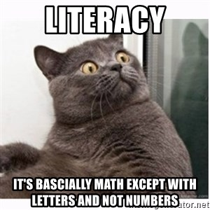 Conspiracy cat - literacy it's bascially math except with letters and not numbers