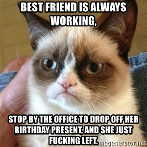 Grumpy Cat  - Best friend is always working, Stop by the office to drop off her birthday present, and she just fucking left.