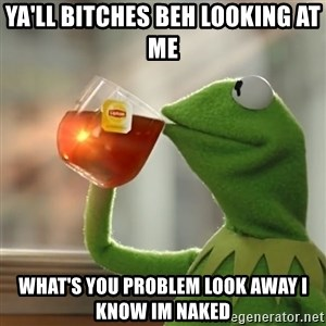 Kermit The Frog Drinking Tea - ya'll bitches beh looking at me what's you problem look away i know im naked