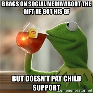 Kermit The Frog Drinking Tea - Brags on social media about the gift he got his gf But doesn't pay Child support