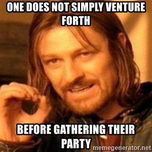 ODN - one does not simply venture forth  before gathering their party