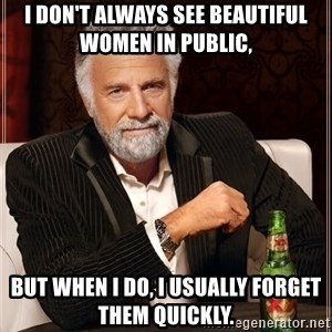 The Most Interesting Man In The World - I don't always see beautiful women in public, but when i do, i usually forget them quickly.