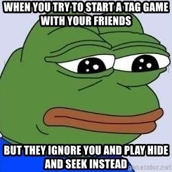 Sad Frog Color - when you try to start a tag game with your friends  but they ignore you and play hide and seek instead