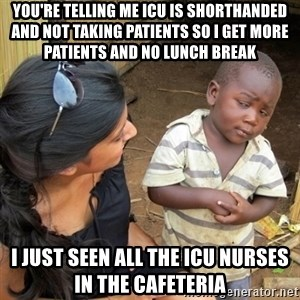 you mean to tell me black kid - YOU'RE TELLING ME ICU IS SHORTHANDED AND NOT TAKING PATIENTS SO I GET MORE PATIENTS AND NO LUNCH BREAK I JUST SEEN ALL THE ICU NURSES IN THE CAFETERIA