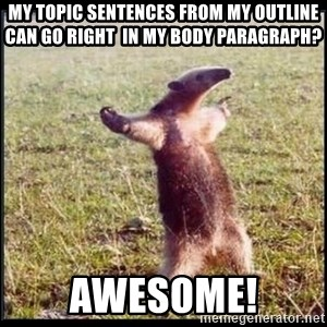 oso hormiguero thug - My topic sentences from my outline can go right  in my body paragraph? Awesome!