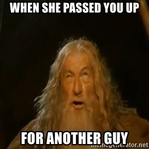 Gandalf You Shall Not Pass - When she passed you up For another guy