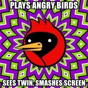 Omsk Crow - plays angry birds sees twin, smashes screen
