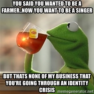 Kermit The Frog Drinking Tea - you said you wanted to be a farmer..now you want to be a singer but thats none of my business that you're going through an identity crisis