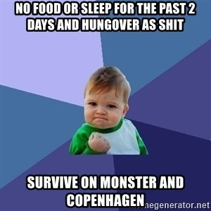 Success Kid - NO FOOD OR SLEEP FOR THE PAST 2 DAYS AND HUNGOVER AS SHIT SURVIVE ON MONSTER AND COPENHAGEN