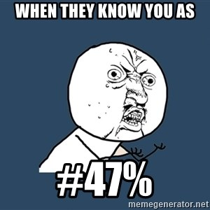 Y U No - when they know you as #47%