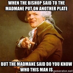 Joseph Ducreux - When the bishop said to the madmane put on another plate  but the madmane said do you know who this man is