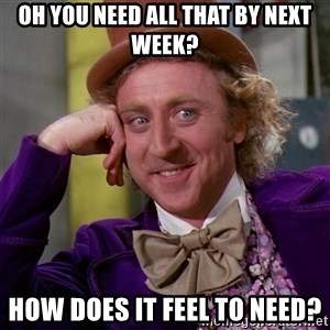 Willy Wonka - Oh you need all that by next week? How does it feel to need?