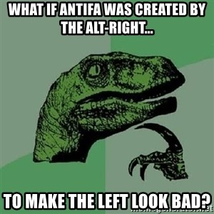 Philosoraptor - What if Antifa was created by the Alt-Right... To make the Left look bad?