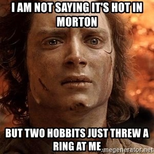 Frodo  - I am not Saying it's hot in Morton but two hobbits just threw a ring at me